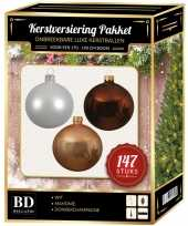 Kerstboom 147 stuks kerstballen mix wit champagne bruin voor 180 cm boom versiering