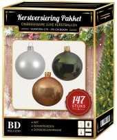 Kerstboom 147 stuks kerstballen mix wit champagne groen voor 180 cm boom versiering