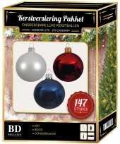 Kerstboom 147 stuks kerstballen mix wit donkerblauw rood voor 180 cm boom versiering