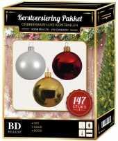 Kerstboom 147 stuks kerstballen mix wit goud rood voor 180 cm boom versiering