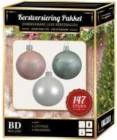 Kerstboom 147 stuks kerstballen mix wit lichtroze mint voor 180 cm boom versiering