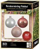 Kerstboom 147 stuks kerstballen mix wit oud roze roze voor 180 cm boom versiering