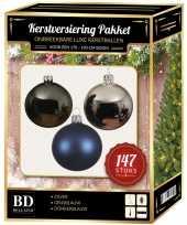 Kerstboom 147 stuks kerstballen mix zilver grijs blauw voor 180 cm boom versiering