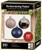 Kerstboom 147 stuks kerstballen mix zilver roze blauw voor 180 cm boom versiering