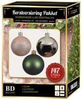 Kerstboom 147 stuks kerstballen mix zilver roze groen voor 180 cm boom versiering