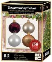 Kerstboom 158 stuks kerstballen mix beige wit donkerrood voor 180 cm boom versiering