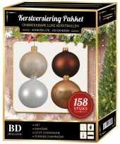 Kerstboom 158 stuks kerstballen mix champagne wit bruin voor 180 cm boom versiering