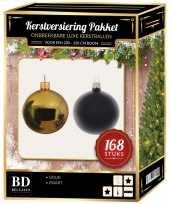 Kerstboom 168 stuks kerstballen mix goud zwart voor 210 cm boom versiering