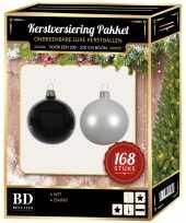 Kerstboom 168 stuks kerstballen mix winter wit zwart voor 210 cm boom versiering