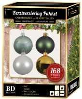 Kerstboom 168 stuks kerstballen mix wit mint goud groen voor 210 cm boom versiering