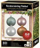 Kerstboom 168 stuks kerstballen mix wit roze mint beige voor 210 cm boom versiering