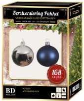 Kerstboom 168 stuks kerstballen mix zilver donkerblauw voor 210 cm boom versiering