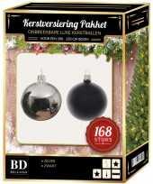 Kerstboom 168 stuks kerstballen mix zilver zwart voor 210 cm boom versiering