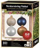 Kerstboom 168x kerstballen mix champagne wit donkerblauw voor 210 cm boom versiering