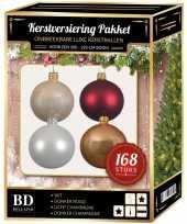 Kerstboom 168x kerstballen mix champagne wit donkerrood voor 210 cm boom versiering