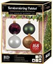 Kerstboom 168x kerstballen mix wit beige groen donkerrood voor 210 cm boom versiering