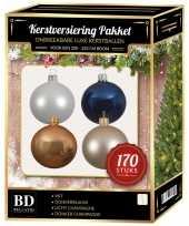 Kerstboom 170 stuks kerstballen mix champagne wit blauw voor 210 cm boom versiering