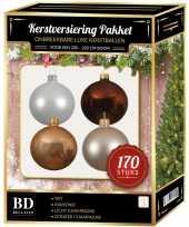 Kerstboom 170 stuks kerstballen mix champagne wit bruin voor 210 cm boom versiering