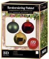 Kerstboom 170 stuks kerstballen mix goud donkergroen rood voor 210cm boom versiering