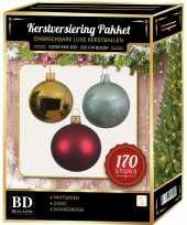 Kerstboom 170 stuks kerstballen mix goud donkerrood mint voor 210cm boom versiering