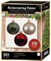 Kerstboom 170 stuks kerstballen mix parel donkergroen rood voor 210cm boom versiering