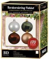 Kerstboom 170 stuks kerstballen mix wit beige bruin groen voor 210 cm boom versiering