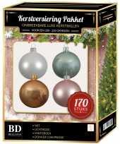 Kerstboom 170 stuks kerstballen mix wit beige mint roze voor 210 cm boom versiering