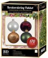 Kerstboom 170 stuks kerstballen mix wit beige rood groen voor 210 cm boom versiering