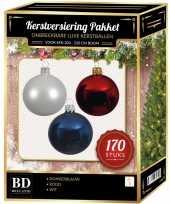 Kerstboom 170 stuks kerstballen mix wit donkerblauw rood voor 210 cm boom versiering