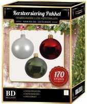 Kerstboom 170 stuks kerstballen mix wit donkerrood groen voor 210 cm boom versiering