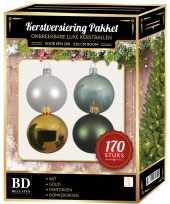 Kerstboom 170 stuks kerstballen mix wit goud groen mint voor 210 cm boom versiering