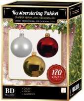 Kerstboom 170 stuks kerstballen mix wit goud kerst rood voor 210 cm boom versiering