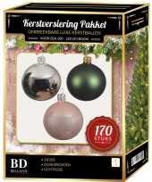 Kerstboom 170 stuks kerstballen mix zilver groen roze voor 210 cm boom versiering