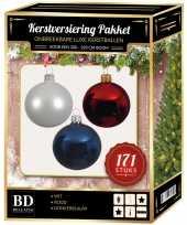 Kerstboom 171 stuks kerstballen mix wit blauw rood voor 210 cm boom versiering