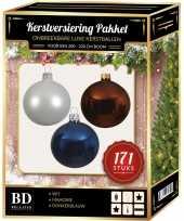 Kerstboom 171 stuks kerstballen mix wit bruin donkerblauw voor 210 cm boom versiering