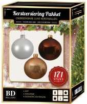 Kerstboom 171 stuks kerstballen mix wit champagne bruin voor 210 cm boom versiering