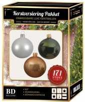 Kerstboom 171 stuks kerstballen mix wit champagne groen voor 210 cm boom versiering