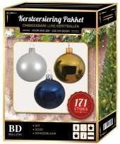 Kerstboom 171 stuks kerstballen mix wit goud donkerblauw voor 210 cm boom versiering
