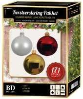 Kerstboom 171 stuks kerstballen mix wit goud rood voor 210 cm boom versiering