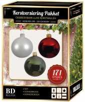 Kerstboom 171 stuks kerstballen mix wit groen donkerrood voor 210 cm boom versiering