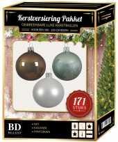 Kerstboom 171 stuks kerstballen mix wit mint bruin voor 210 cm boom versiering