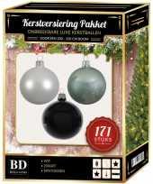 Kerstboom 171 stuks kerstballen mix wit mint zwart voor 210 cm boom versiering
