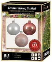 Kerstboom 171 stuks kerstballen mix wit oudroze lichtroze voor 210 cm boom versiering