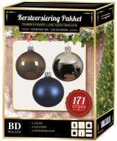 Kerstboom 171 stuks kerstballen mix zilver blauw bruin voor 210 cm boom versiering
