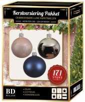 Kerstboom 171 stuks kerstballen mix zilver roze donkerblauw voor 210 cm bo versiering