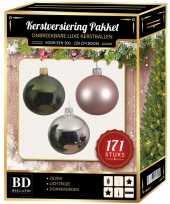 Kerstboom 171 stuks kerstballen mix zilver roze donkergroen voor 210 cm bo versiering