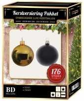 Kerstboom 176 stuks kerstballen mix goud zwart voor 210 cm boom versiering
