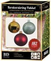 Kerstboom 182 stuks kerstballen mix goud mintgroen rood voor 210 cm boom versiering