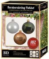 Kerstboom 182 stuks kerstballen mix wit beige groen voor 210 cm boom versiering