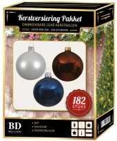 Kerstboom 182 stuks kerstballen mix wit bruin donkerblauw voor 210 cm boom versiering